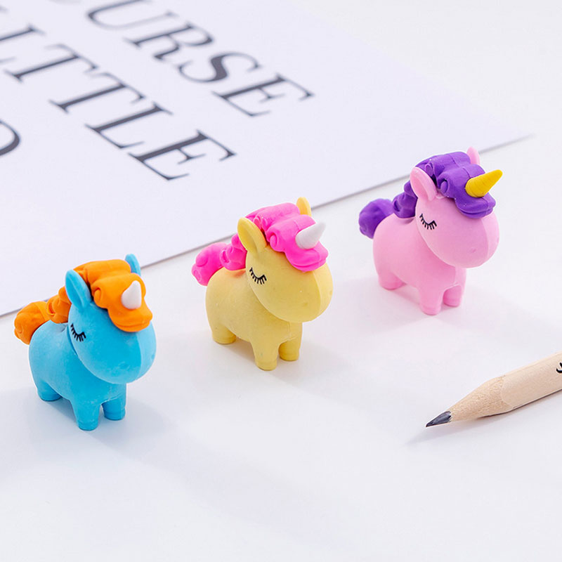 Colorful Rubber Erasers Unicorn Pencil Eraser Students Stationery School Supplies For Children Kids Gift Eraser