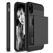 Slide Credit Card Slot Wallet Phone Case For iPhone 6 6S 7 8 Plus 5 5S SE Armor TPU Shockproof Capa For iPhone X XS Max XR Cover цена и фото