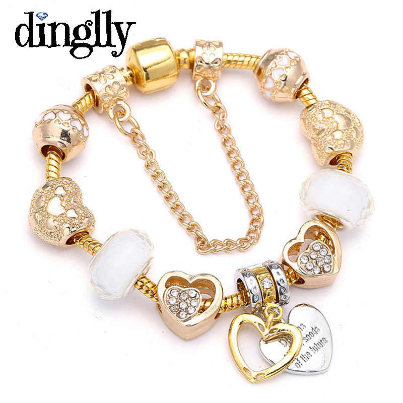 European Fashion Crystal Love Gold Charm Bracelets For Women Men Heart Beads Brands Bracelet & Bangle Jewelry Gift Dropshipping