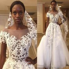 Vintage African Lace Wedding Dresses 2019 vestido de noiva Black Girls Women A Line Sheer Gowns Custom Made Bride Dress