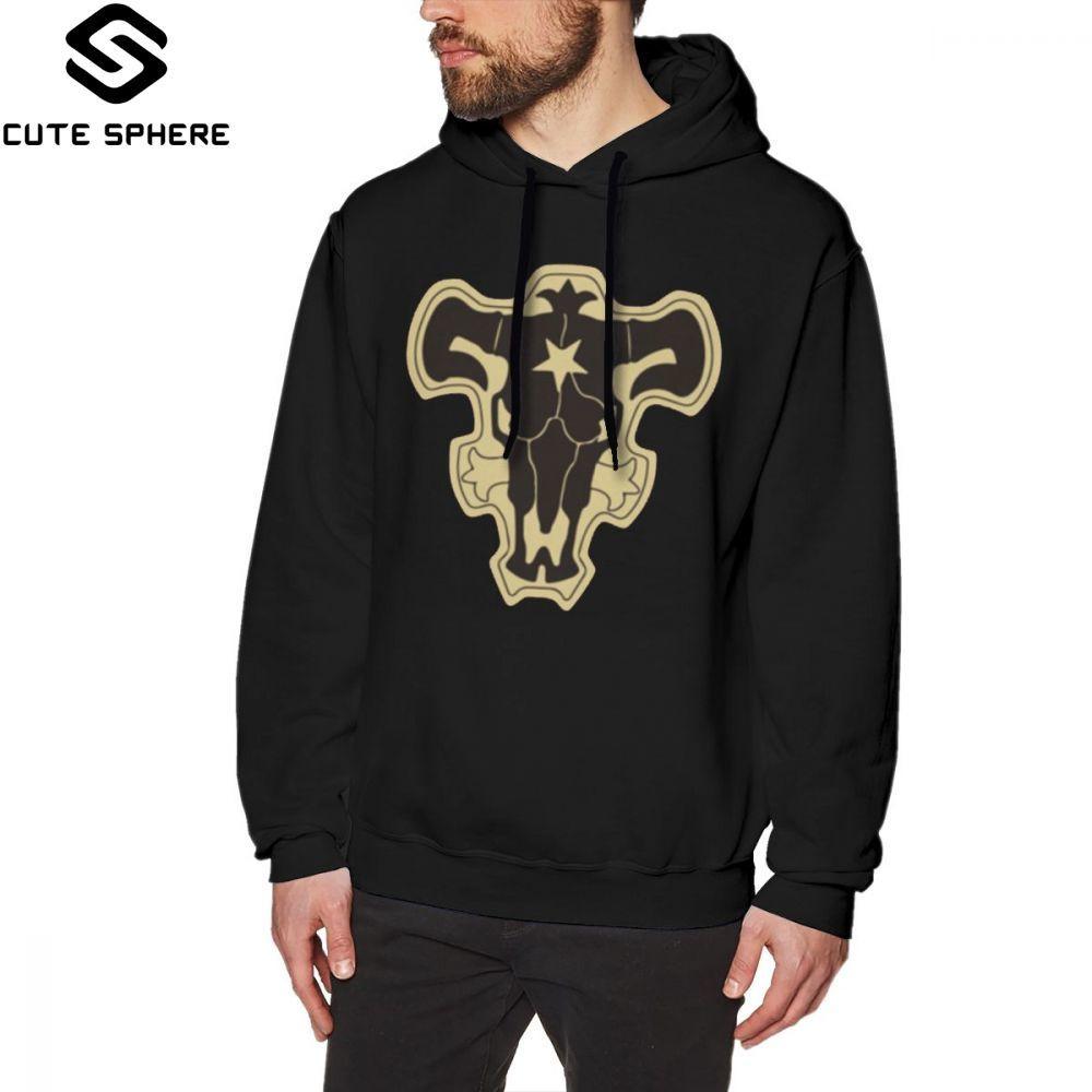 Black Clover Hoodie Black Clover Black Bulls Hoodies Outdoor Cotton Pullover Hoodie Men Warm Blue Big Long Length Hoodies
