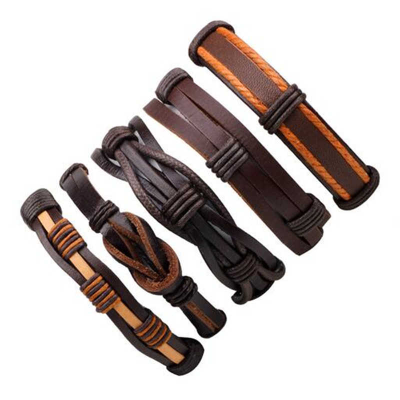 3-6 יח'\סט אופנה גברים עור צמידי עור חבל Weave צמיד קלאסי שעוות קו מתכוונן יד צמיד זכר תכשיטים