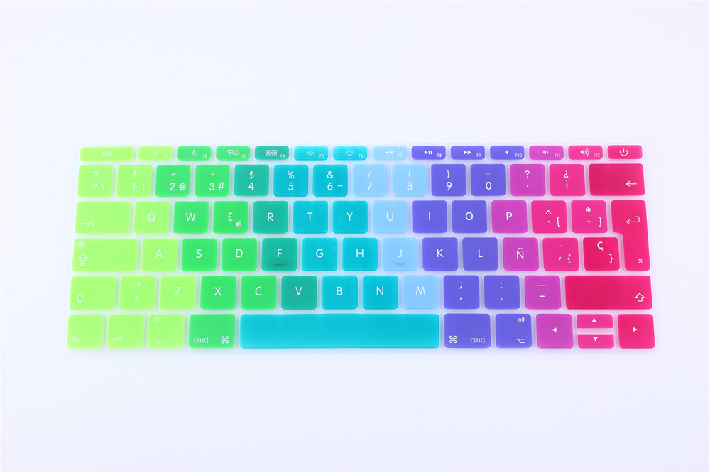 EU Version Candy Rainbow Spanish For New Mackbook 12 Keyboard Cover Silicone Funda For New Macbook 12 Protector Skin