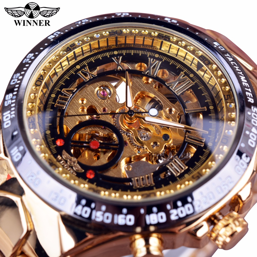 Жеңімпаздың жаңа нөмірі Sport Design Bezel Golden Watch Ерлерге арналған сағаттар Top Brand Luxury Montre Homme Clock Men Automatic Skeleton Watch