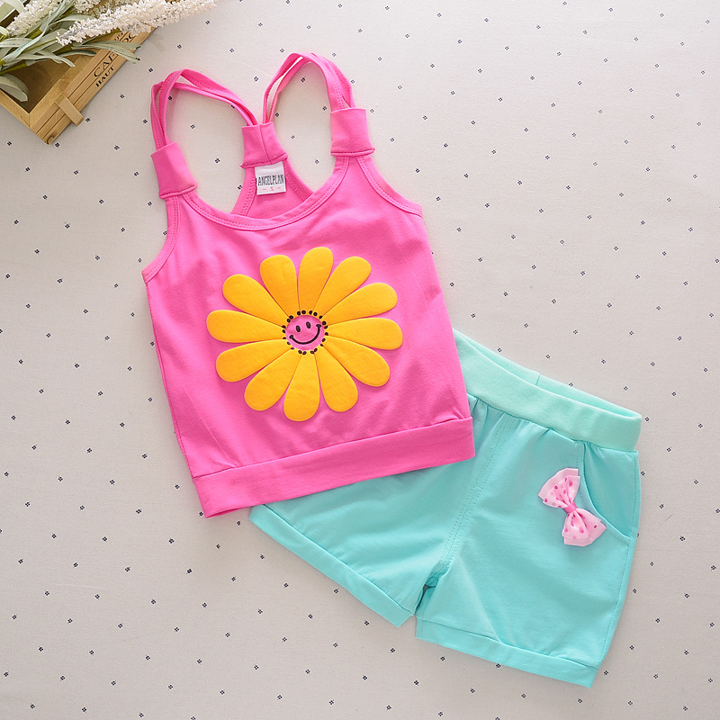 Girls Clothing Sets New Children Casual Clothes Sets Baby Girls Printed Tape Vest T-Shirt Shorts Suits Summer Kids Clothes