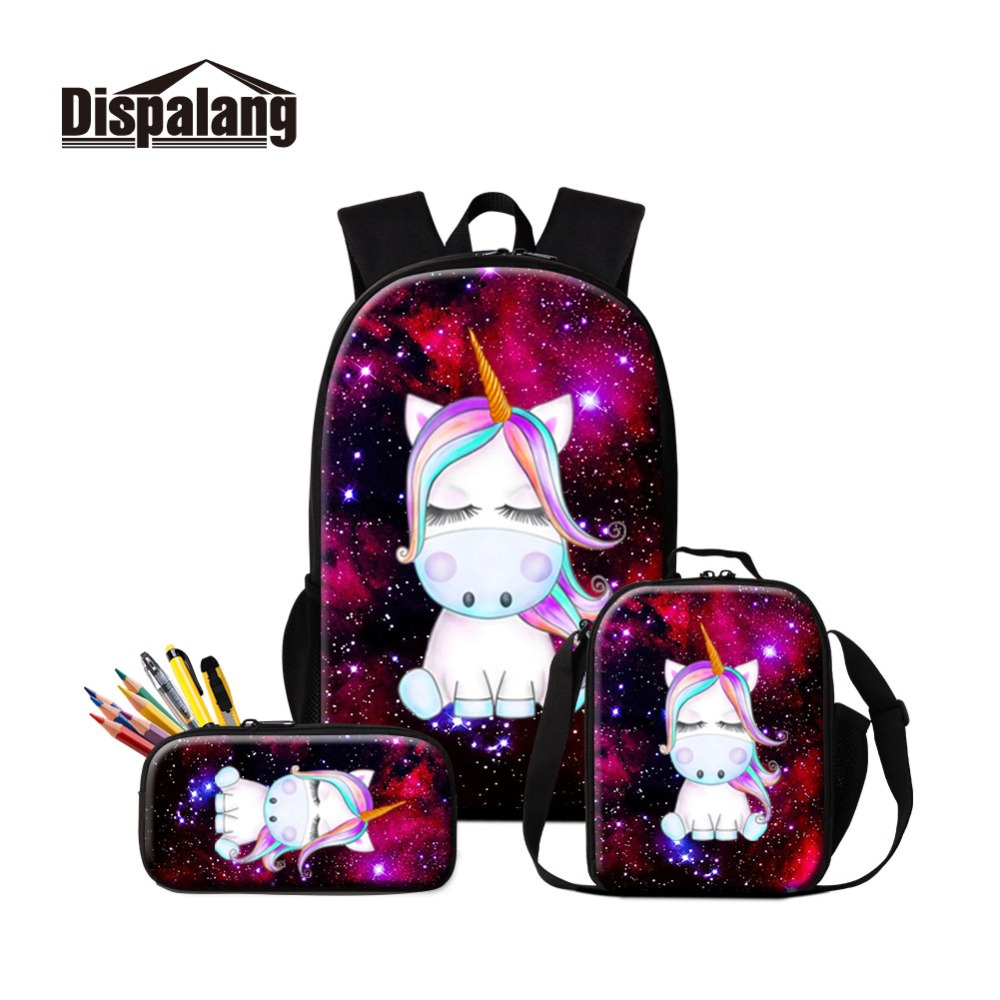 Galaxy Scuola Zaino Tamponando Unicorno Bookbag per le Ragazze Carino Animali Isolati Pranzo Al Sacco Sacchetto Più Freddo Del Fumetto Cassa di Matita