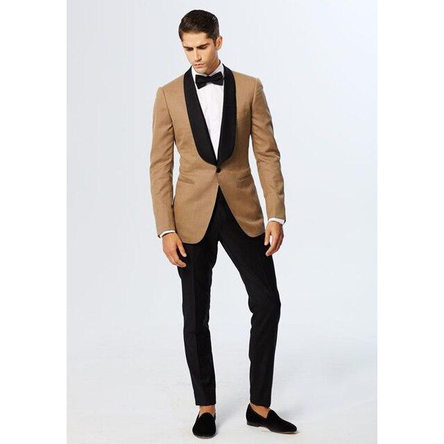 4d3012dace38 Custom Gold Jacket Black Shawl Lapel Slim Fit Men Suits 2 Piece Blazer  Stylish Groom Tuxedo Prom/Party Suits Jacket+Pants