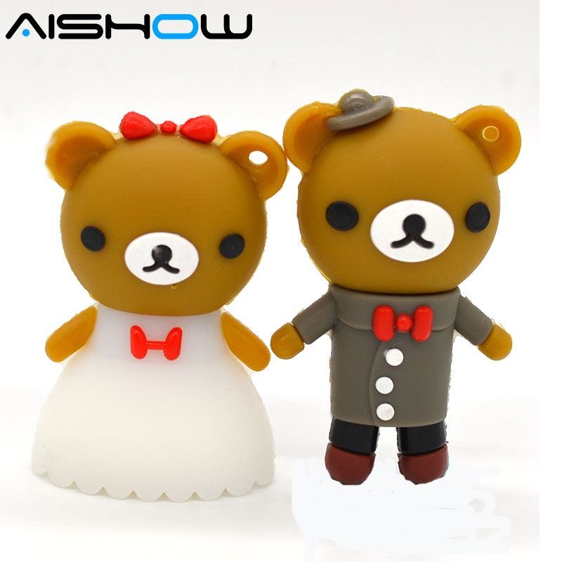 pendrive 뜨거운 만화 Rilakkuma 곰 결혼 웨딩 펜 - 외부 저장 - 사진 1