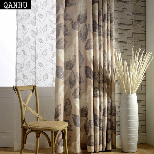 US $9.5 52% OFF|QANHU Brown Leaf Pattern Blackout Curtains for Bedroom  Polyester/Cotton Comfortable Curtains Set for the Living Room A 11-in  Curtains ...
