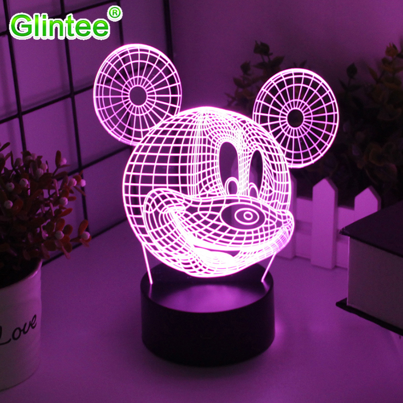 Mickey Mouse 3D LED Acrylic Night Lights Colorful Cartoon Decoration Lighting Atmosphere Table Lamps Kid Gifts Creative Luminous