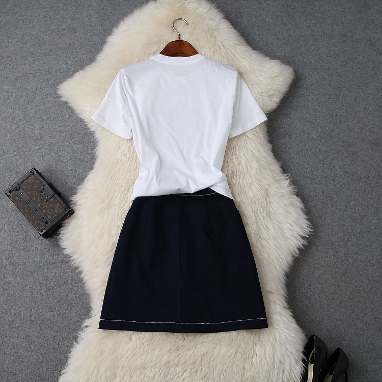 Skirt Set Women Summer 2019 New Sequined Round Neck Short Sleeved T Shirt Top Denim Patchwork Slim Button Skirt Two Piece Sets in Women 39 s Sets from Women 39 s Clothing