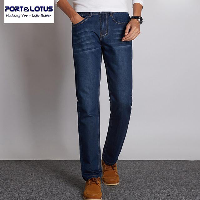 Puerto & Lotus Jeans Nueva Llegada Más Diseño del Color Sólido Casual de Negocios Recta Larga Duración Moda Hombre Jeans 001