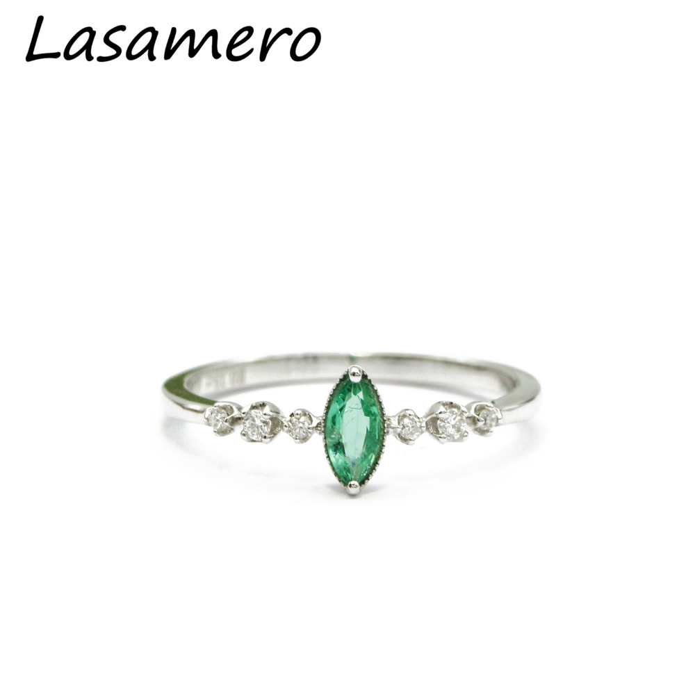 LASAMERO Marquise Cut 0.15ct Natural Emerald Gemstone 18k White Gold Vintage Style Diamond Accents Promise Engagement Ring
