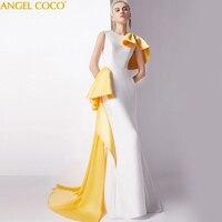 Великолепное вечернее платье с русалочкой, модное Сексуальное желтое платье знаменитостей, длинное вечерние свадебное платье, вечернее пл