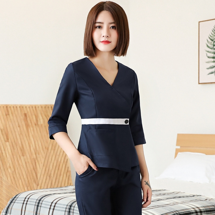Made in china sauna clothes coverall clothing beauty for Spa uniform china