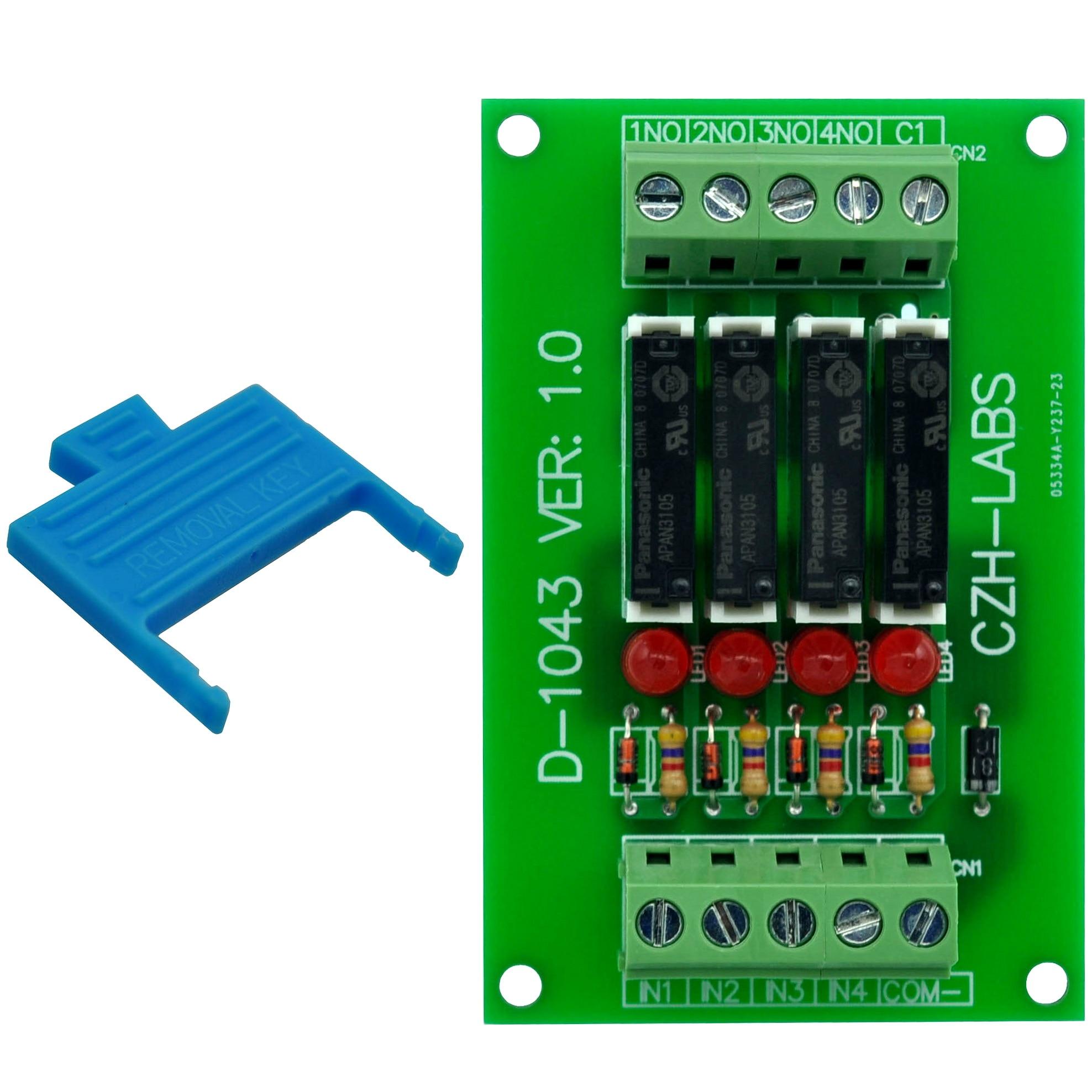 Slim Panel Mount DC5V Source/PNP 4 SPST-NO 5A Power Relay Module, APAN3105.