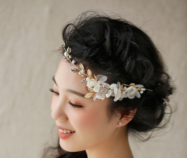 Hua Jia Huajie Yu Korean Bride Headdress Hair Bands Handmade Wedding Short Golden Leaf