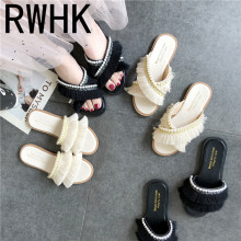 RWHK Slippers female 2019 summer new Korean tassel pearl wear slipper flat non-slip fashion wild slippers B501