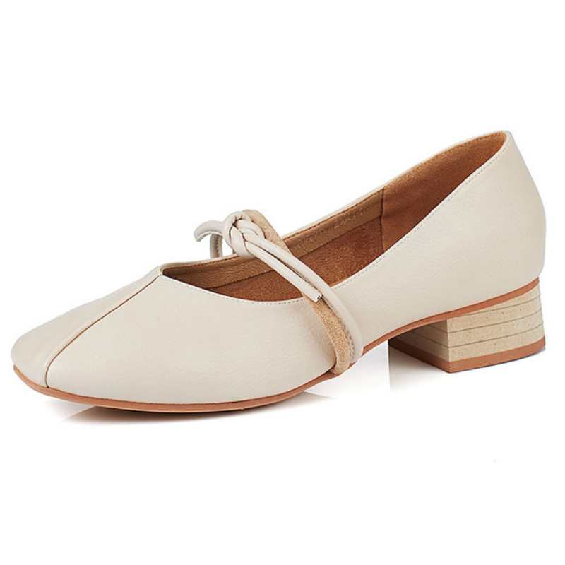 2018 New Women Shoes Pumps Mary Janes Middle Heels Woman Synthetic Leather  Casual Shoes Fashion Classics Retro Square Toe Style 39cf986d0c5