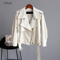 FTLZZ Pu Motorcycle Faux Soft Leather Women Pu Leather Jacket Coat Three Quarter Sleeve Epaule Female Green Loose Short Jacket