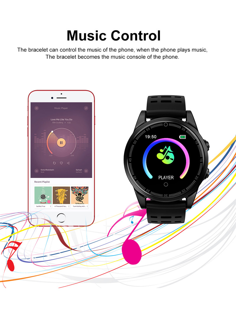 Smart watch fitness waterproof for Android IOS Music
