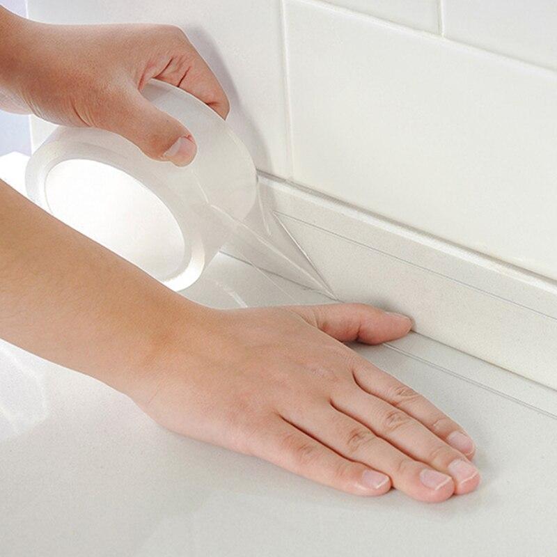 3M de ancho 3/5MM lavabo de ducha de baño cinta de sellado para baño cocina blanco acrílico adhesivo impermeable de la pared 3m cinta de doble cara cinta adhesiva transparente sin seguimiento pegatinas impermeables fuerte mejora del hogar