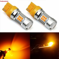 2Pcs Extremely Bright PX 2835 Chipsets 21W 7440 7441 T20 LED Bulbs Amber Yellow Brightest Turn
