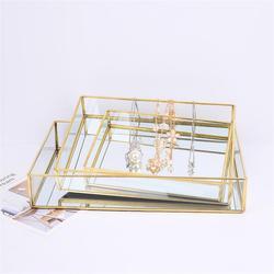 Placa de joyería Vintage de oro Nordic Ins Placa de almacenamiento de vidrio con montura de oro placa decorativa de almacenamiento de escritorio