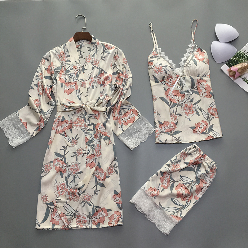 Floral Sleepwear   Set   Sexy Silk Satin Robe   Pajama     Set   3 Pieces Lace Home Clothing Summer Nightwear For Women