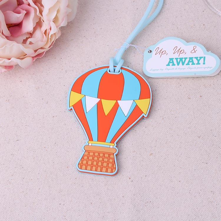 Free shipping 200pcs/lot New Travel Favors  Up.up & Away  Hot Air Balloon Luggage Tags Rubber Luggage Tags, Wedding Favors
