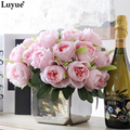 Luyue Artificial Rose Real touch Fake silk flowers bridal bouquet for wedding party and home decor 1 bouquet 10 pcs flowers