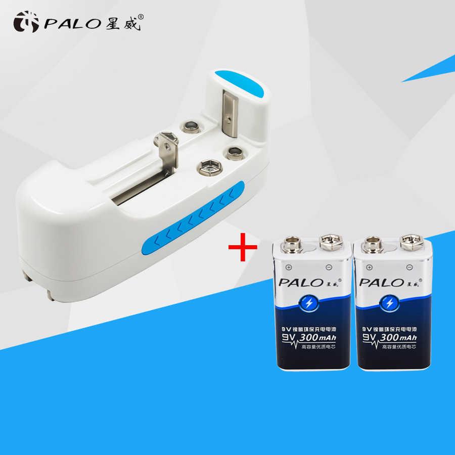 PALO набор для подзарядки батареи с 2 шт. 9v300mAh Ni-MH аккумуляторы и 1 шт. Универсальное зарядное устройство для 9 в AA AAA 18650 C D CR123A
