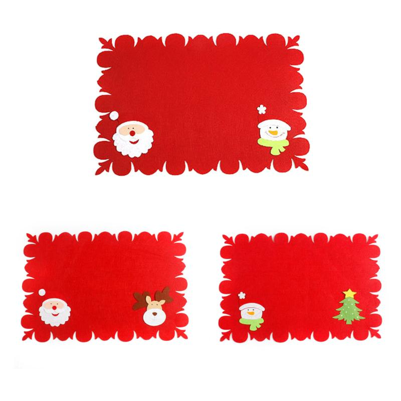 Merry Christmas Kitchen Decorations Fabric Table Mats Dual-use Non-woven Fork Knife Cutlery Holder Placemat Home Supplies