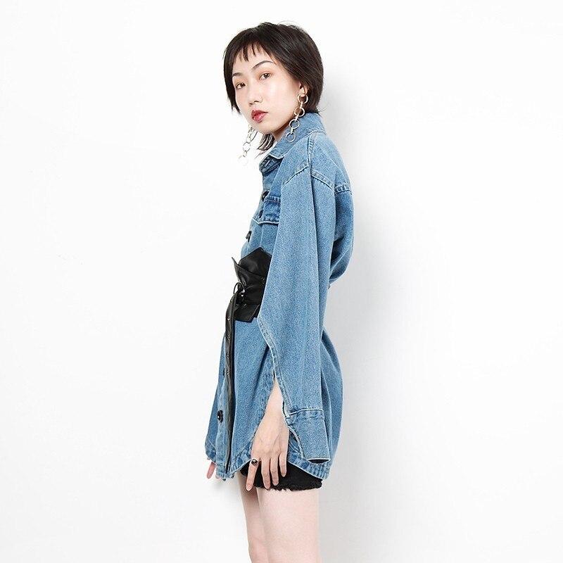 ever Unique Femelle Mode Blue De Poitrine Yd Manches Coat Manteau Denim Poche Automne 2018 À Longues Irrégulière Manteaux Femmes Streetwear Oversize dqUtUz