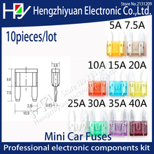 цена на Hzy 10pcs/lot ClipAmp  Assortment Auto Blade Fuse-Suv Mini Car Fuses 2A 3A 5A 7.5A 10A 15A 20A 25A 30A 35A 40A