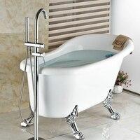 크롬 황동 욕실 마무리 바닥 스탠드 수도꼭지 라운드 형 목욕 샤워 믹서 황동 샤워 세트 현대 욕조