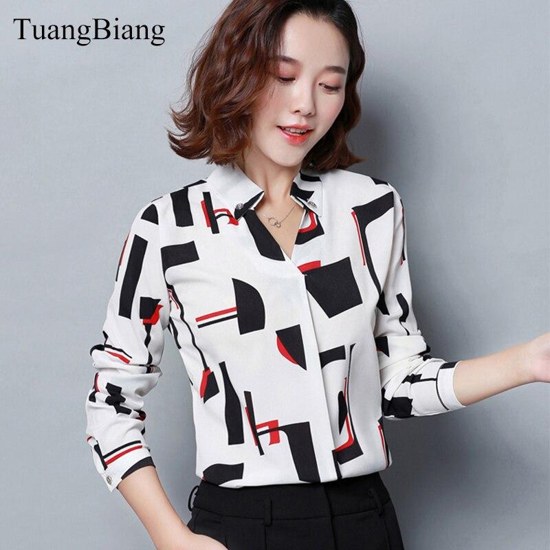 2019 Spring Women office lady Chiffon Shirt blusas femme V-Neck Cotton Geometric Print Blouse elegant Long sleeve Striped Blouse 1