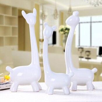 Auspiciosa Tres Familia De Ciervos De Porcelana Adornos Hogar Decoración Manualidades Animal Ciervos Cerámica Figurillas Habitación Decoraciones De La