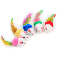 Colorful Pet Supply Soft Plush False Mice Mouse Cat Dog Toys Interactive Toy with Feather