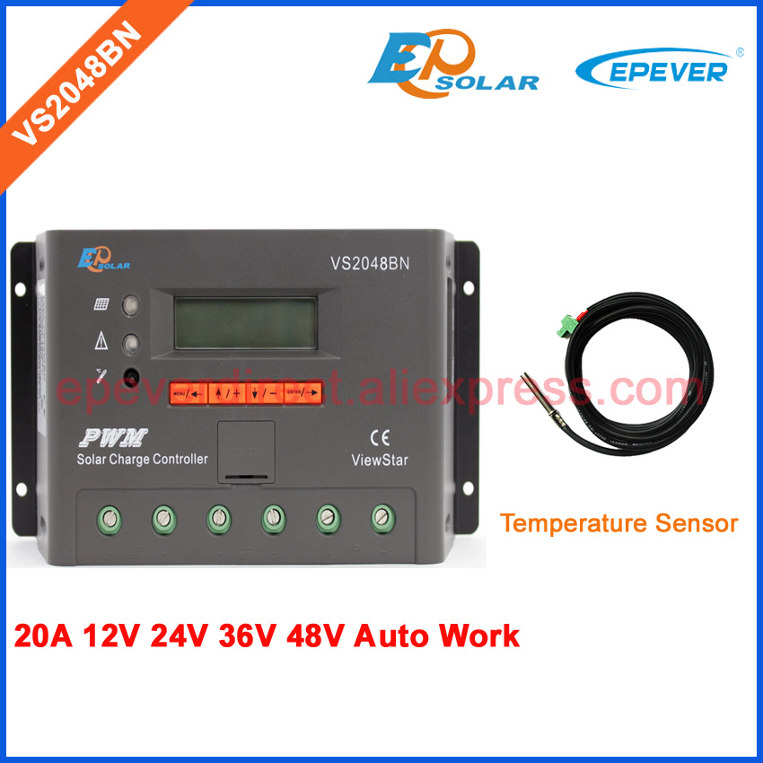 EPEVER PWM 20A controller with Temperature sensor EPsolar solar battery regulator VS2048BN 48V 20amp 36V automatic charger high quality pwm epsolar controller solar battery vs1024bn temperature sensor