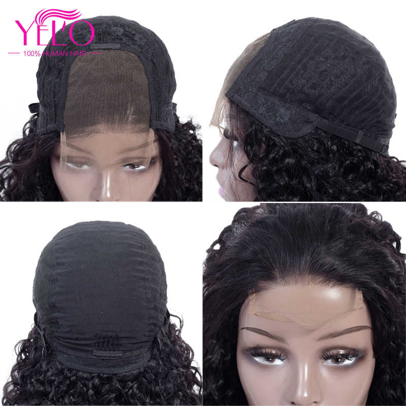 "Yelo Malaysian Curly Hair Wigs Natural Color 100% Human Hair Wigs 10""-22"" Remy Lace Front Human Hair Wigs"