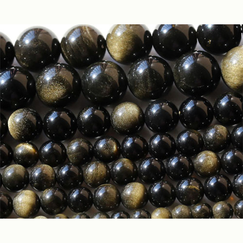 Discount Wholesale Natural A Grade Gold Obsidian Round Loose Stone Beads 3-18mm Fit Jewelry DIY Necklaces Or Bracelets 15