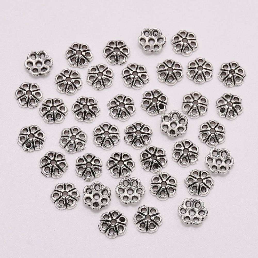 100pcs/Lot 6mm Bead Caps For Jewelry Bead Caps End Receptacle Hollow Out Flower Torus DIY Spaced Apart Jewelry Making