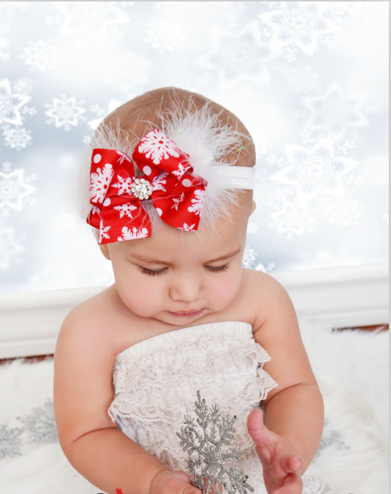 2017 New Christmas children Headband Feather Bow Snow Flower Girls Hair Band Head wear Merry Christmas Hair Accessories SD040 metting joura vintage bohemian green mixed color flower satin cross ethnic fabric elastic turban headband hair accessories