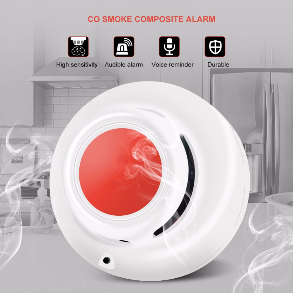 CO&Smoke Detect 2 in 1 function Standalone Carbon Monoxide Detector CO Gas Leak Tester Smoke Detector With Voice Fire Alarm image