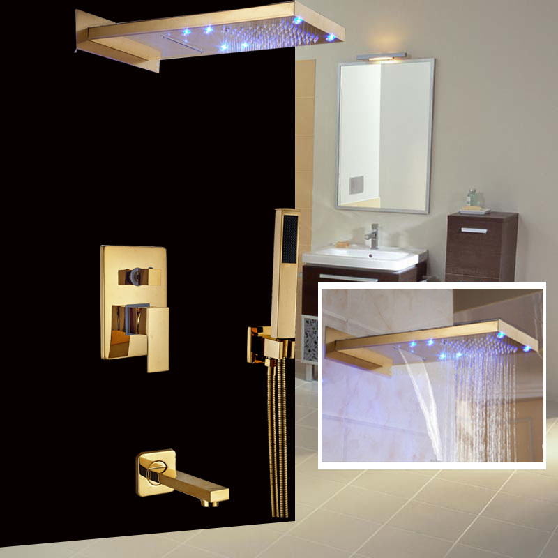 High end Wall Mount Color Changing LED Waterfall & Rain Showerhead ...