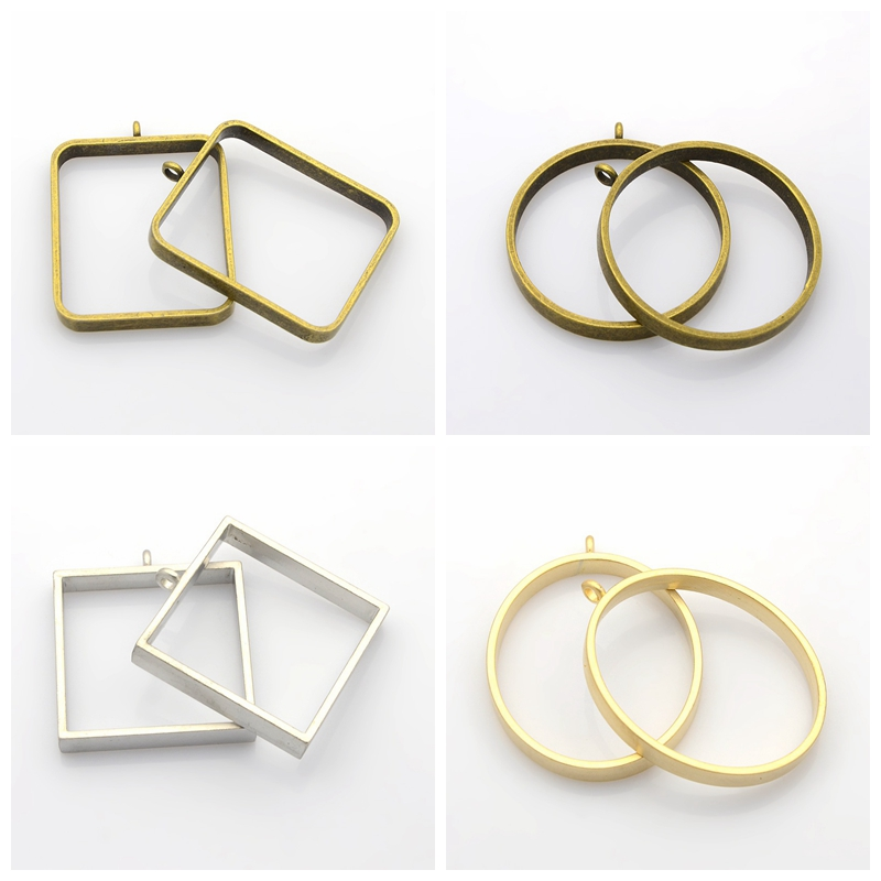 12 Shape & Colors 10pcs Tibetan Style Alloy Square Oval Round Ring Empty Jewelry Findings Neklace Design Pendants Nickel Free
