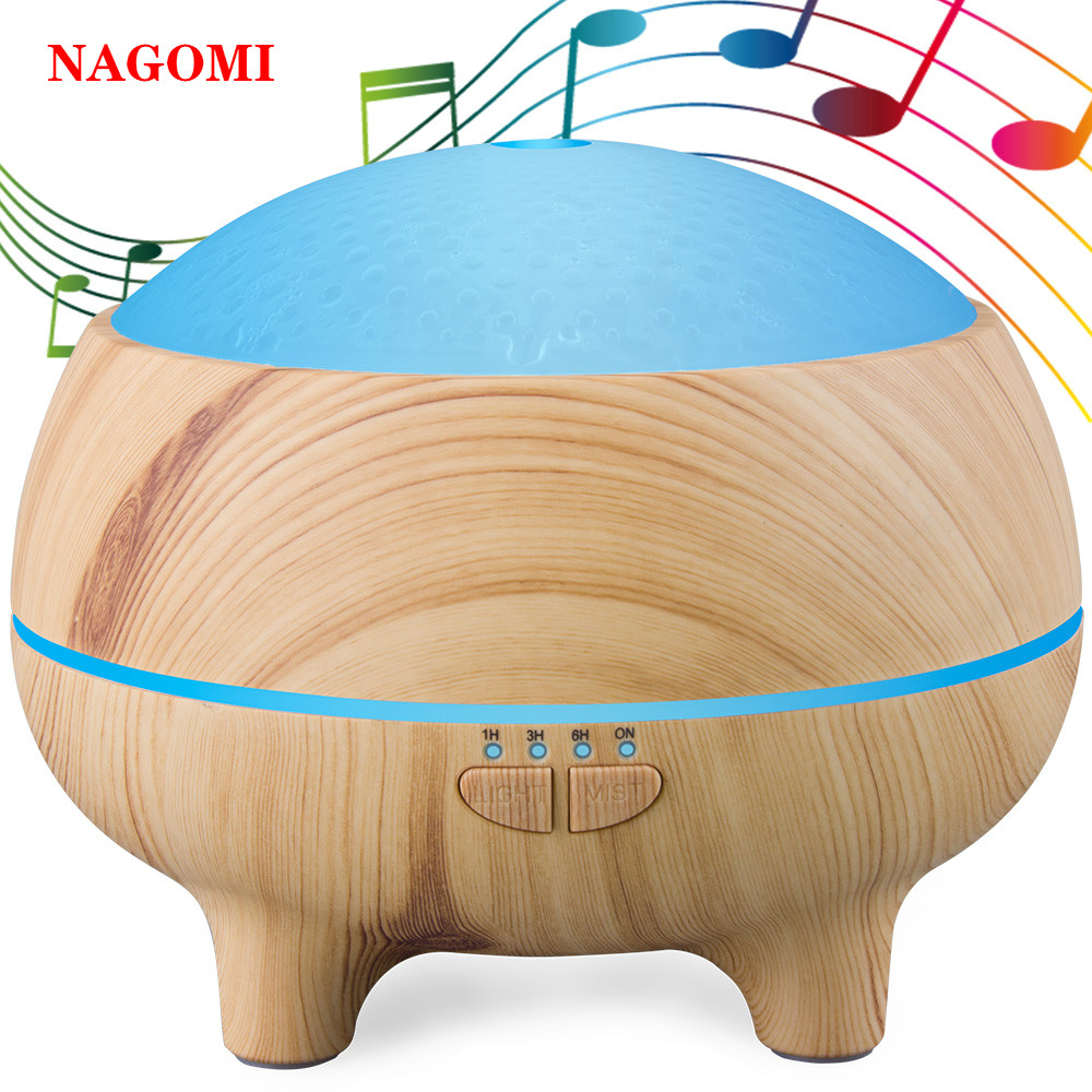 300ML Electronic Music Ultrasonic Air Humidifier Bluetooth Speaker Aromatherapy Essential Oil Diffuser For Home With Night Light