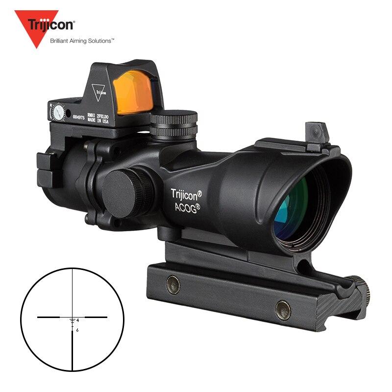 Trijicon ACOG 4x32 optique de Chasse portée de Chasse Airsoft avec Docter Mini lunettes noires point rouge capteur de lumière de Chasse
