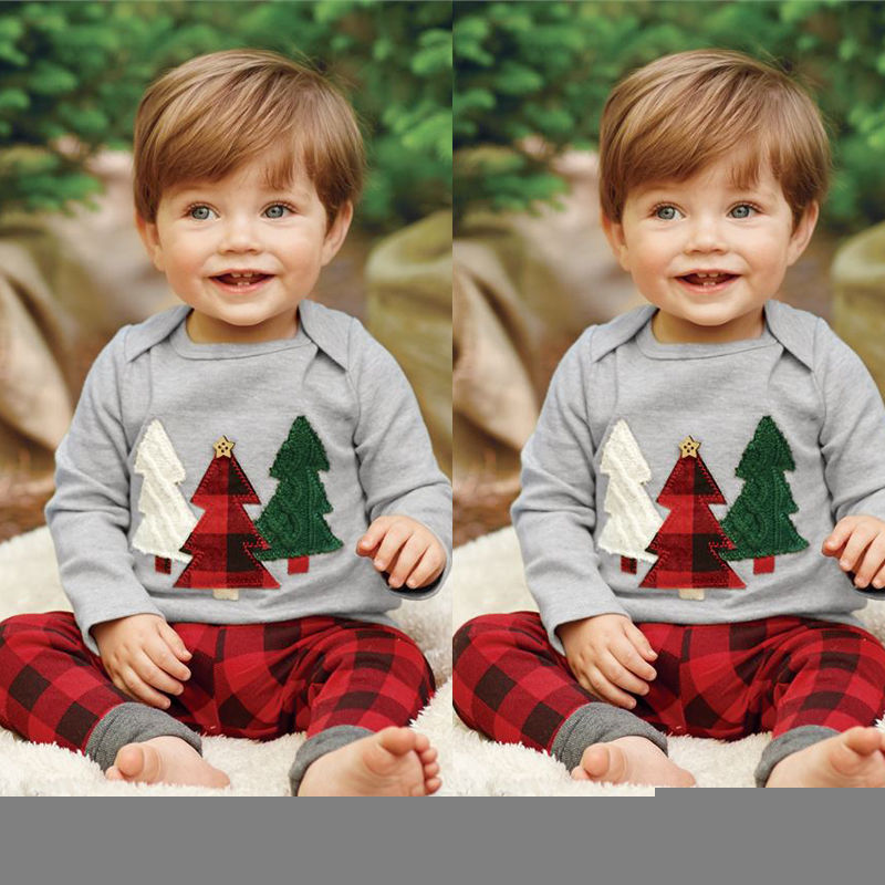 2PCS Kids Baby Boys Christmas Clothes Long Sleeve Sweatshirt and Plaid Pants pocket sweatshirt and sequins jogger pants